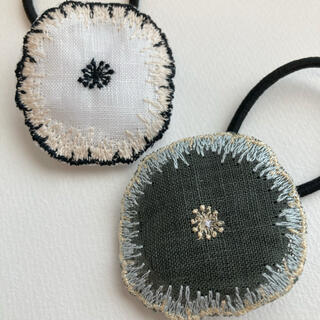 ミナペルホネン(mina perhonen)のミナペルホネン ヘアゴム handmade くるみボタンセットホワイトグリーン(ヘアアクセサリー)