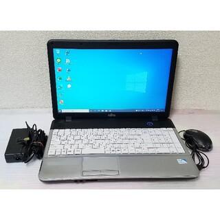 フジツウ(富士通)の富士通 ノートパソコン Windows10 エクセル ワード DVDマルチ(ノートPC)