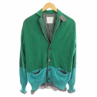 サカイ(sacai)のサカイ カーディガン ニット  長袖 配色 カシミヤ混 1 S 緑 水色 グレー(カーディガン)
