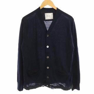 サカイ(sacai)のサカイ 16年製 カーディガン ニット 長袖 裾ドローコード 無地 3 L 紺(カーディガン)