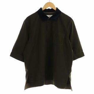 sacai - サカイ 16年製 ポロシャツ 五分袖 ベロア ステッチデザイン 3 L カーキ