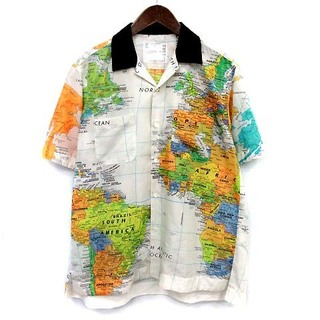 サカイ(sacai)のサカイ sacai 20SS 地図柄 シャツ 半袖 オープンカラー 2 白(シャツ)