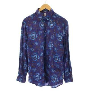 ケンゾー(KENZO)のケンゾー KENZO シャツ 長袖 総柄 41 M 紺 ネイビー 青 ブルー(シャツ)