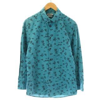 ケンゾー(KENZO)のケンゾー KENZO シャツ 長袖 花柄 41 M 青 ブルー 黒 ブラック(シャツ)