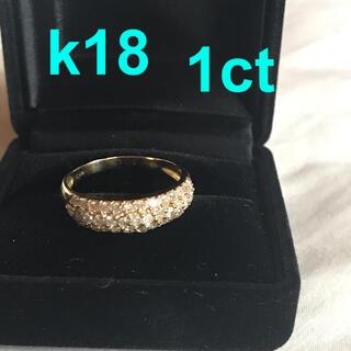 ダイヤモンド パヴェリング 指輪 1ct k18 18k 18金