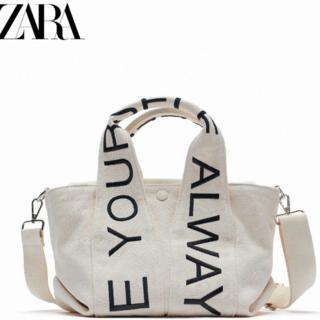 ZARA - ZARA テキストミディトートバッグ キャンバスバッグ