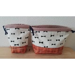 【24*リボンxカゴ風】2点セット 巾着袋 コップ袋 お弁当袋(外出用品)