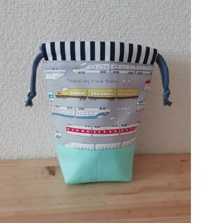 【21✻新幹線×グレー】コップ袋 巾着 ハンドメイド(外出用品)