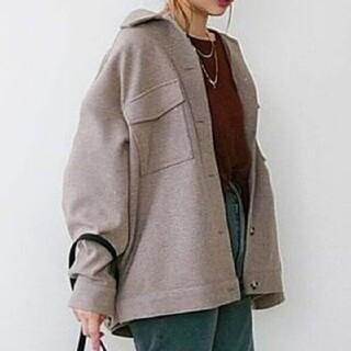 ジーナシス(JEANASIS)のウールライクcpoジャケット メランジニット グレー ブラウン シャツ 羽織(ミリタリージャケット)