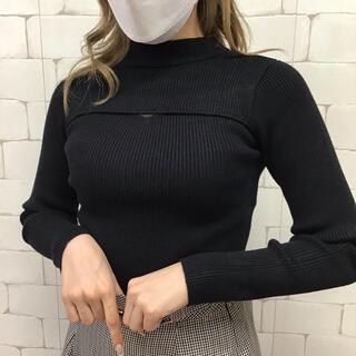 定価6490円 2way胸重ねデザイン肉厚ニットトップス 黒
