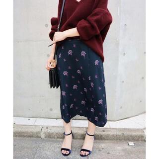 IENA - モチーフプリントスカート ネイビー36