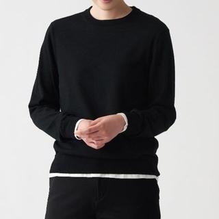 MUJI (無印良品) - ウールシルク洗えるクルーネックセーター  婦人L 黒