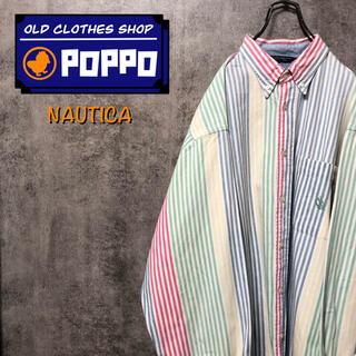 NAUTICA - ノーティカ☆ポケット刺繍ロゴパステルカラーマルチロンドンストライプシャツ 90s