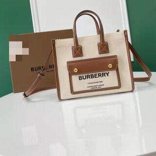 バーバリー(BURBERRY)の BURBERRYミニ ツートン キャンバス トートバッグ(トートバッグ)
