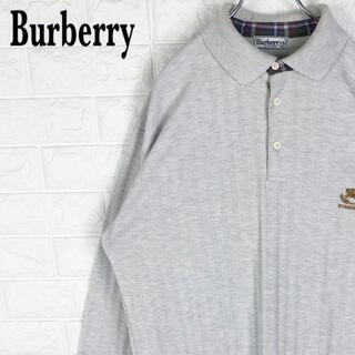 バーバリー(BURBERRY)のバーバリー 長袖ポロシャツ ゆるだぼ 刺繍ワンポイント胸ロゴ チェック柄90s(ポロシャツ)