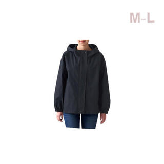 ムジルシリョウヒン(MUJI (無印良品))の無印良品    撥水フードジャケット  婦人M~L・黒(ブルゾン)