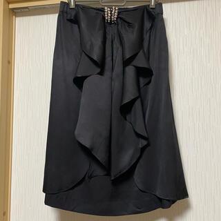 グレースコンチネンタル(GRACE CONTINENTAL)のグレースクラス ビジューフリルスカート シルク素材(ひざ丈スカート)