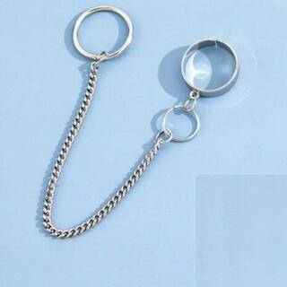 指輪  リング  チェーン付き  シルバー  韓国系 メンズ レディース