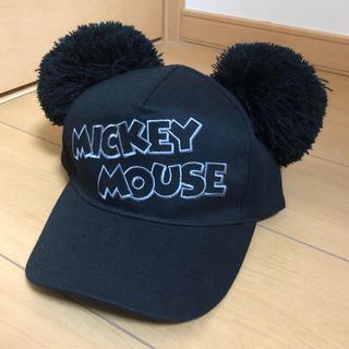 ディズニー(Disney)のディズニー 耳付き帽子 ポンポン キャップ ブラック 最終値下げ(キャップ)