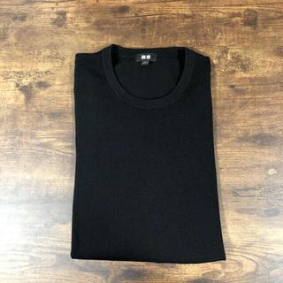 UNIQLO - UNIQLO エクストラファインメリノクルーネックセーター ブラックLサイズ