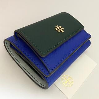 Tory Burch - 78617 トリーバーチ 三つ折財布 EMERSON ブルー&グリーン