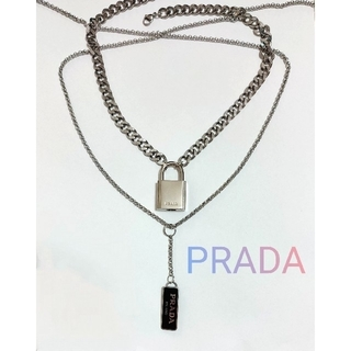 PRADA - PRADA プラダ ネックレス  南京錠 パドロック カデナ プレート付き 鍵