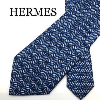 エルメス(Hermes)の☆美品☆ HERMES エルメス ネクタイ ブルー ネイビー 青 総柄 シルク(ネクタイ)