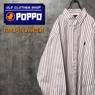 Ralph Lauren - ラルフローレン☆ワンポイント刺繍ロゴビッグストライプシャツ 90s