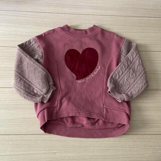 petit main - プティマイン 100 袖ニット切り替えトレーナー ピンク ハート