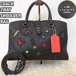 COACH - 美品✨COACH マーサー 30 ショルダーバッグ 刺繍 パッチワーク 黒