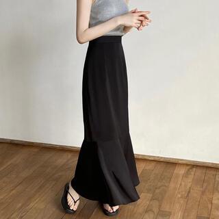 TODAYFUL - maison celon mermaid satin skirt(black)