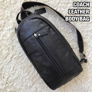 コーチ(COACH)の美品✨COACH ヘリテージ ウェブ ボディバッグ レザー チャーム ブラック(ボディーバッグ)