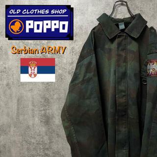 セルビア軍☆後染めウッドランドカモフラミリタリーミドルコート 90s