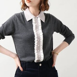 IENA - IENA イエナ ウールシルクフリルプルオーバー 新品グレー ニットセーター完売