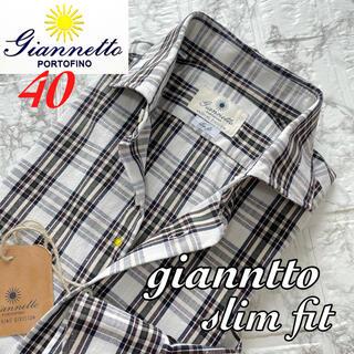 FINAMORE - 新品未使用 giannetto ジャンネット チェック コットンシャツ / 40