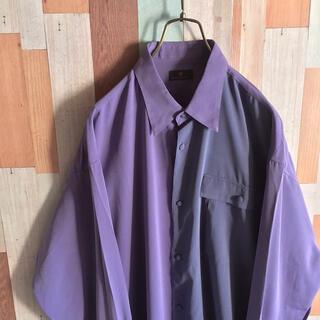 ART VINTAGE - 古着 昭和レトロな配色のスイッチシャツ ボックス 紫 vintage