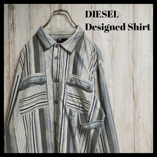ディーゼル(DIESEL)の【希少デザイン】DIESEL ストライプ シャツ デザイン性 長袖(シャツ)