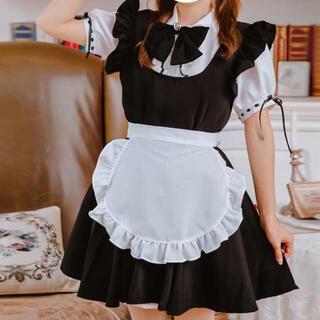 新品♪ ハロウィン コスプレ可愛いメイド服 エプロン 6点セット ワンピース M(衣装一式)
