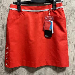 ランバン(LANVIN)のランバン クール ゴルフスカート  オレンジ Mサイズ 38 ストライプ 台形(ウエア)