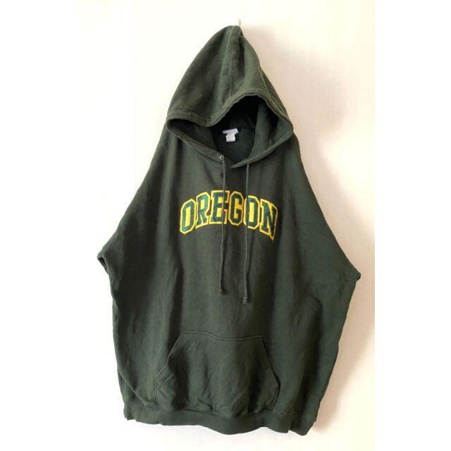 OREGONオレゴンカレッジ スウェットパーカー 2XLカーキグリーン刺繍 古着 メンズのトップス(パーカー)の商品写真
