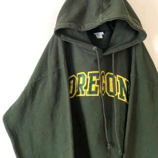 OREGONオレゴンカレッジ スウェットパーカー 2XLカーキグリーン刺繍 古着