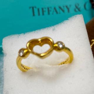 Tiffany & Co. - tiffanyオープンハート2Pダイヤ750ゴールドリング 8号