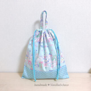 ユニコーン&スイーツ水色×ドット 体操着袋(外出用品)