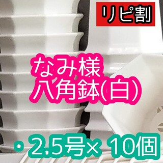 ◎10個◎八角鉢 2.5号 ブラック ホワイト 2.5寸 シャトル鉢 (プランター)
