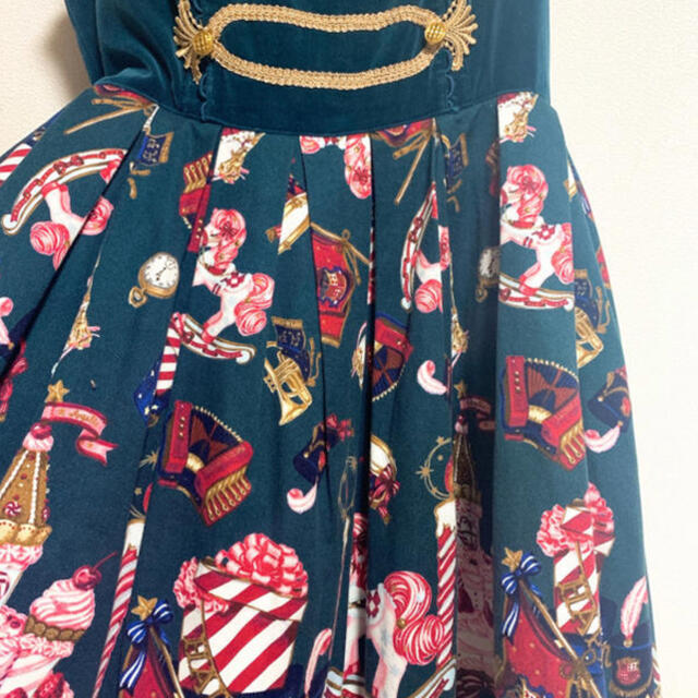 Angelic Pretty(アンジェリックプリティー)のAngelicPrettyHolynightstory ナポレオン緑クリスマス レディースのワンピース(ひざ丈ワンピース)の商品写真