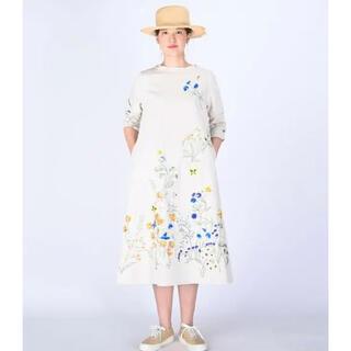 45rpm - ♡ 45R 綿麻ざっくりデニムの刺繍ドレス ワンピース ♡
