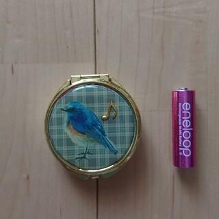 コンパクトタイプの鏡 アクセサリーケース ピルケース 小鳥 インコ(小物入れ)