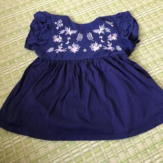 BeBe - べべ 130 女の子 花柄 刺繍 ブルー