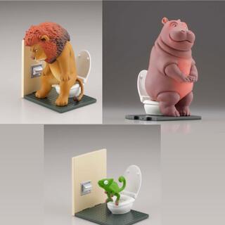 海洋堂 - カプセルQミュージアム佐藤邦雄の動物たち トイレの時間 3種類