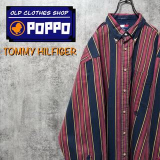 TOMMY HILFIGER - トミーヒルフィガー☆オールド刺繍ロゴビッグマルチストライプシャツ 90s